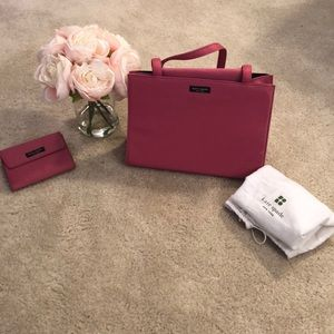 Kate Spade pink nylon Sam bag and Frankie wallet